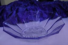 Pressglas Schale Anbietschale blau mit Obstmotiv 60er Jahre