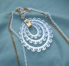 "Vintage 1960s ENAMEL TRIPLE NESTED ""PEACOCK EYE "" PENDANT Necklace Double Chain"