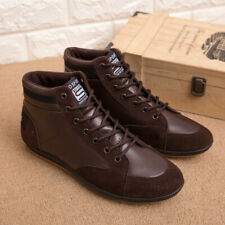 Casual Shoes Men Leather Boots Ankle Boots Motorcycle Fashion Lace Up Sneakers