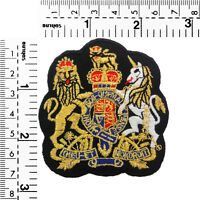 #1562IR Gold Royal Crown Crest Emblem Embroidered Sew Iron On Motif Badge Patch