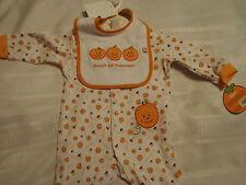 BABY GEAR 3-6 Month My First Halloween Sleepwear Outfit NWT Bib Sleeper Pajama