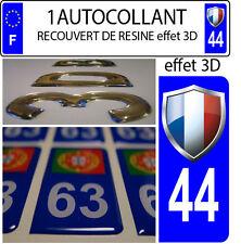 1 adesivo targa auto EFFETTO DOMING 3D RESINA FAGNON FRANCIA DIPARTIMENTO 44