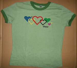 NWOT Motionwear I Heart Cheer Top GREEN T Shirt  Adult Sizes lotsa hearts