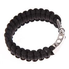 Para Cord Rope Outdoor Survival Bracelet Camping Steel Shackle Buckle Black