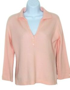 Geneva 100% Cashmere sweater Small v-neck 3/4 sleeve pink