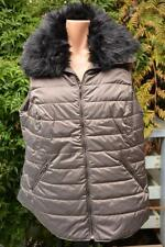 Autograph Grey Metallic Puffa Vest Size 16 Removable Fur Neck Trim