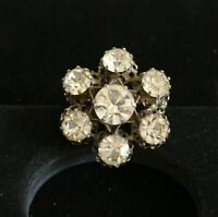 BROOCH-vintage, silver-tone metal, rhinestones, flower, made in Austria