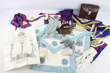 More details for 14 x assorted vintage masonic regalia inc. jewels, aprons, collars, leather bag