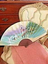 Large Antique Vintage Hand Painted Silk Hand Fan Victorian Lady At Duck Pond