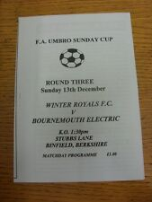 13/12/1998 Winter Royals v Bournemouth Electric [FA Sunday National Cup] (Four P