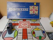Vintage Parcheesi Game, 1967 Blue Box,  2 cups, 4 sets of wooden men and 2 die