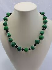 Vintage Estate Green Dough Art and Bead 18 Inch Necklace w/ New Clasp Unique