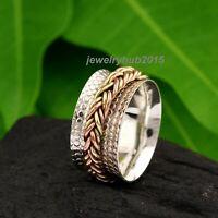 Wide Band Spinner Ring,925 Sterling Silver Ring for Women, Fidget Meditation D37