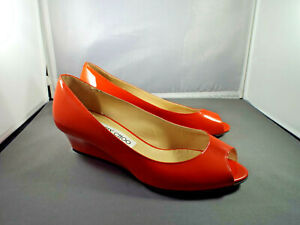 ***JIMMY CHOO Italy Sz 35.5/6M patent leather Wedge PUMPS red!!