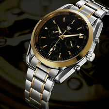 Black OUYAWEI Mechanical Mens Day Date Time Steel Band Wrist Automatic Watch