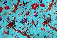 Kantha Quilt Blanket Indian Cotton Handmade Antique Gudari Bird Blue Twin Size