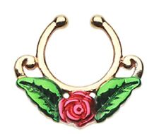 Septum Clip-On Ring Non Pierce Septum Golden Rose Blossom Icon Fake
