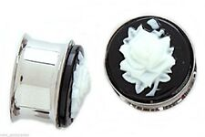 """PAIR-Cameo Rose White Steel Double Flare Ear Plugs 12mm/1/2"""" Gauge Body Jewelry"""