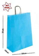 5 x Sky Blue Paper Party Gift Bags ~ Boutique Shop Loot Carrier Bag - SIZE A4