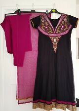Women's Venison's Black & Purple Net With Gold Trim 3 Piece Anarkali Shalwar...