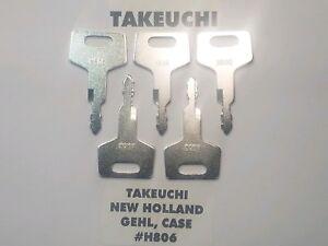 (5) Takeuchi, Gehl, Case, New Holland Excavator & Heavy Equipment Keys H806