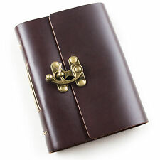 Ancicraft Leather Diary Journal with Clasp A6 Blank Craft Paper Dark Coffee Gift