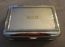VTG 1944 Solid Sterling Silver Footed Cigarette Box~Rope Edging~618g~AEN Monogrm