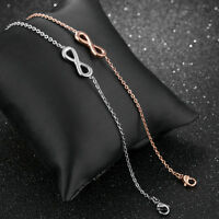 Cute Infinity Silver Rose Gold GP Surgical Stainless Steel Bangle Bracelet Gift