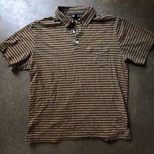 Men's Patagonia Organic Cotton Brown Green Squeaky Clean Striped Polo Shirt Sz M