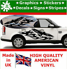 2 x Large Car Side Free Fly Eagle Flame Stickers Graphics 4x4 Decal Vinyl Van 97