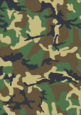 A4 sheet laminated camouflage Stickers self adhesive vinyl Green Camo cam decal