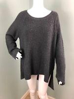 NWT Womens Simply Vera Wang Gray Sequin Sparkle Asymmetric Hem Sweater Sz XL