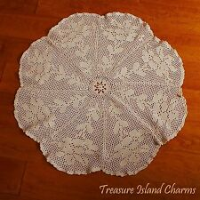 """Ecru Round Crochet Center Doily Tablecloth With Stemmed Flowers 100% Cotton 27"""""""