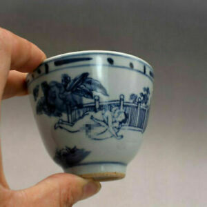 Chinese Blue and White Porcelain Late Qing Figure Joy Design Teacup 2.3 inch Cup