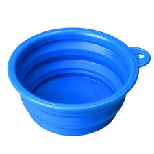 Dog Cat Pet Silicone Collapsible Travel Feeding Bowl Water Dish Feeder Blue WA