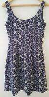NINE WEST BLUE COTTON SUMMER DRESS floral daisy embroidered UK size uk 8