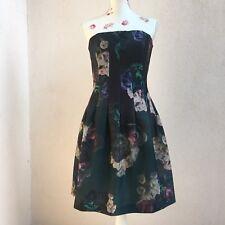 H&M abito vestito bustier fiori rosa verde fit&flare green Floral dress EU 40