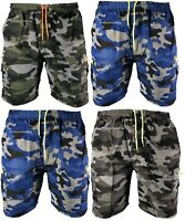 New Mens Elasticated Camouflage Shorts Knee Length Cargo Combat Multi Pocket