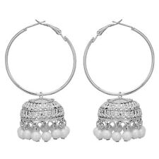 Jwellmart Indian Bollywood Oxidized Silver Faux Pearl Chandbali Jhumka Earrings