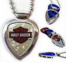 PICKBAY GUITAR PICK HOLDER Pendant NECKLACE  Guitar + Harley Davidson SET