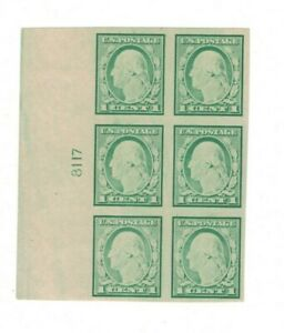U.S. #481 IMPERF.  PLATE BLOCK of 6  MH  W/OG  **NICE**