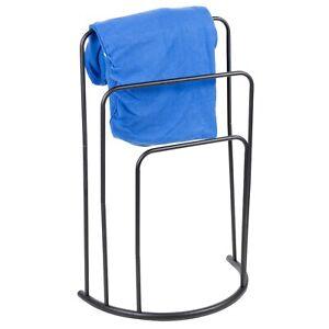 Free Standing Metal Towel Rack Bar Bathroom Triple Holder Rack Shelf Storage