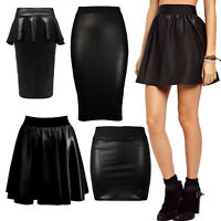 a840a8594125d WOMENS BLACK WET LOOK SKATER SKIRT LADIES PVC SHINY PLUS SIZE OFFICE FORMAL  8-26