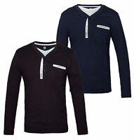 JACK & JONES Long Sleeve Men's Top Cotton T- Shirt Chest Pocket Button Fly BNWT