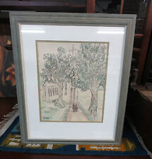 Nora Petersen Water Color Painting Church Chapel Trees Matted & Framed