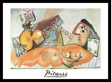 Pablo Picasso liegender Akt und Musiker Poster Bild Kunstdruck & Rahmen 70x50cm