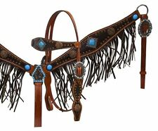 Showman Leather Headstall & Breast Collar w/ Turquoise Conchos & Leather Fringe