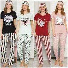 Damen Pyjama Schlafanzug %100 Baumwole 3-Teiler Set mit Augenband S-31