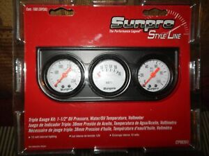 SALE VINTAGE NOS  LIGHTED TRIPLE GAUGE DASH SET OIL TEMP VOL AUTO ACCESSORY