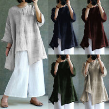 ZANZEA Women Batwing Sleeve Oversized Cotton Linen Tops Check Plaid Blouse Shirt